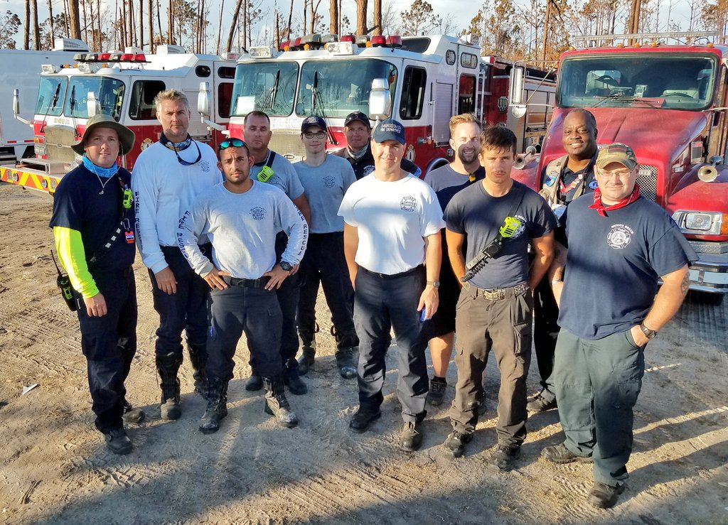 This is the #MexicoBeachFL Fire Department w/@FlFireChiefs Engine &amp; Tender Strike Team 602 from Northport FD @SRQCountyGov FD Clay &amp; Putnam co. FD #HurricaneMichael #850Strong @BayCountyEM #BayRecovers @BillyGoldfeder<br>http://pic.twitter.com/jmCrYycgeU
