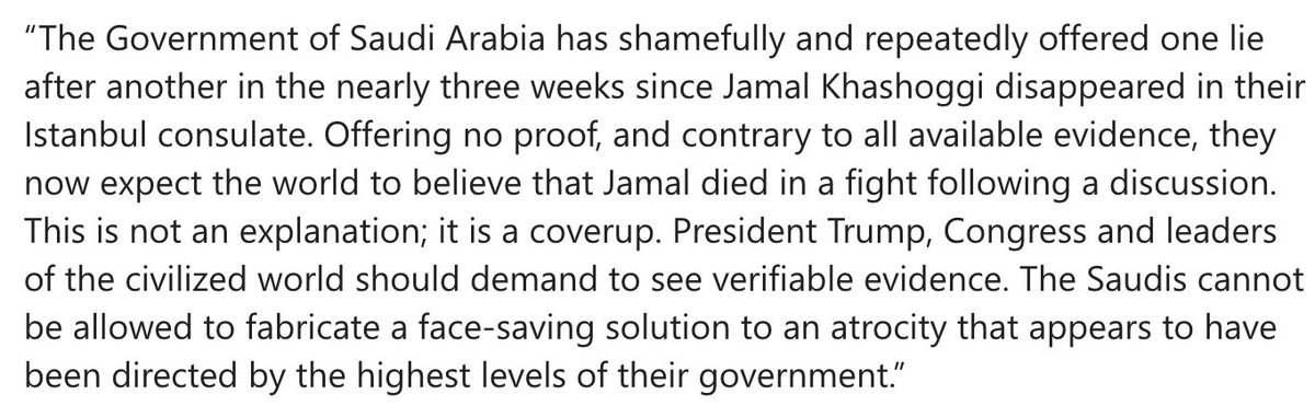 Washington Post publisher Fred Ryan urges Trump, Congress and world leaders to not accept Saudi Arabia's 'coverup' over Khashoggi's killing. Full statement: