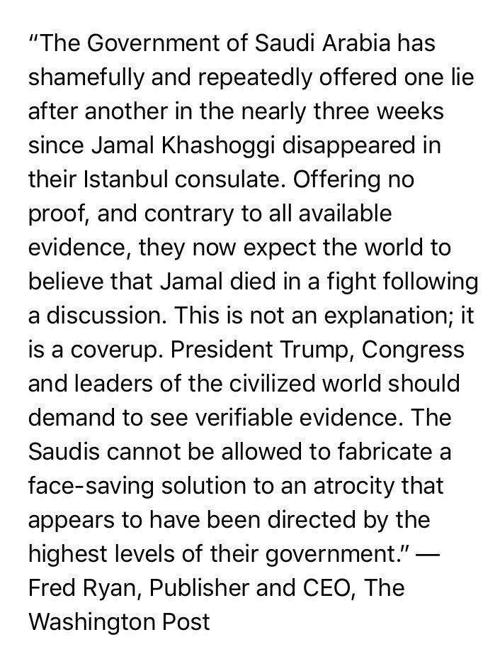 New statement from @washingtonpost CEO and Publisher Fred Ryan on Jamal Khashoggi