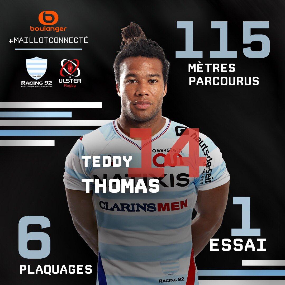RT @ParisLaDefArena: Le #MaillotConnecté by @boulanger vous présente les statistiques de @TeddyThoms ! L'ailier du @racing92 a beaucoup app…