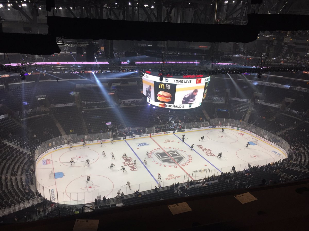 It's Ullmark and Quick in goal as #Sabres and #LAkings take the ice to get warm (photo @TBNSports blimpcam)