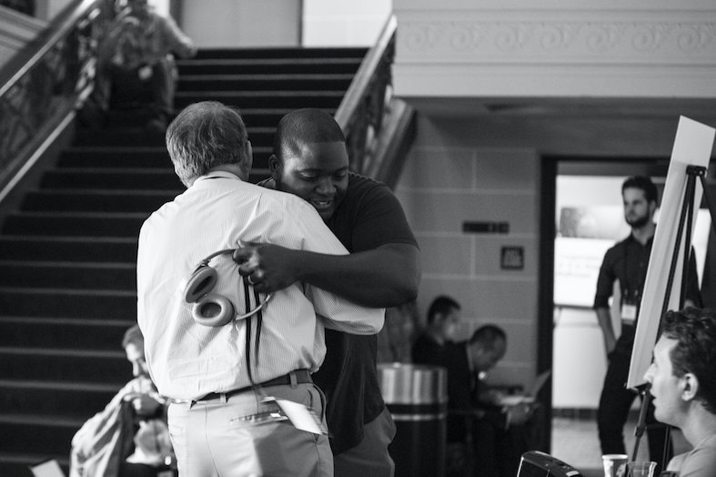 What corporations, startups & founders are you looking forward to connecting with at Techstars  nex#FounderCont week?? Snap a photo with them and tag us so we can share! 📷 pictured: a very lucky person getting a hug from the one and only @Guydon