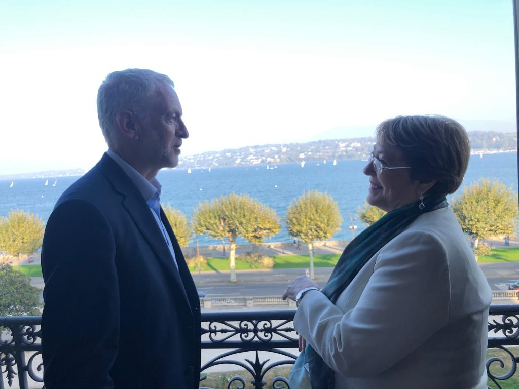 Today in Geneva I spoke to UN Commissioner @mbachelet about workers' rights and human rights.  The Tories want to use Brexit for a race to the bottom in standards.  Labour will transform a failed system to deliver better jobs and rights for UK workers and communities.