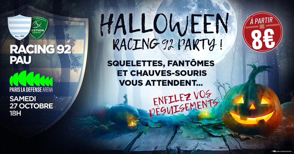 Venez fêter Halloween avec nous.   Racing 92 vs Section Paloise  Samedi 27 Octobre ⌚️18h00 ️ @ParisLaDefArena   Prévenez vos amis et achetez vos places : https://t.co/KTyvRjNm6m https://t.co/4SnpaLEkD