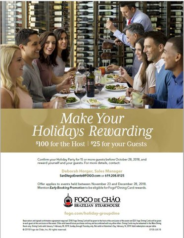 Book your holiday party with Chamber member Fogo de Chao and 'make your holidays rewarding.'   More details: https://t.co/2kUbfQ4Q2M