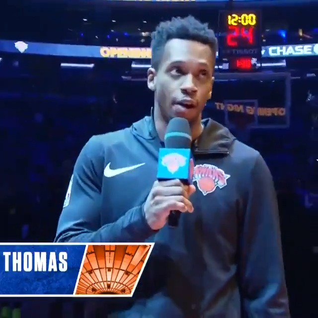 Lance Thomas addressed the fans pregame last night at MSG. #KiaTipOff18 https://t.co/iydeJlk96s