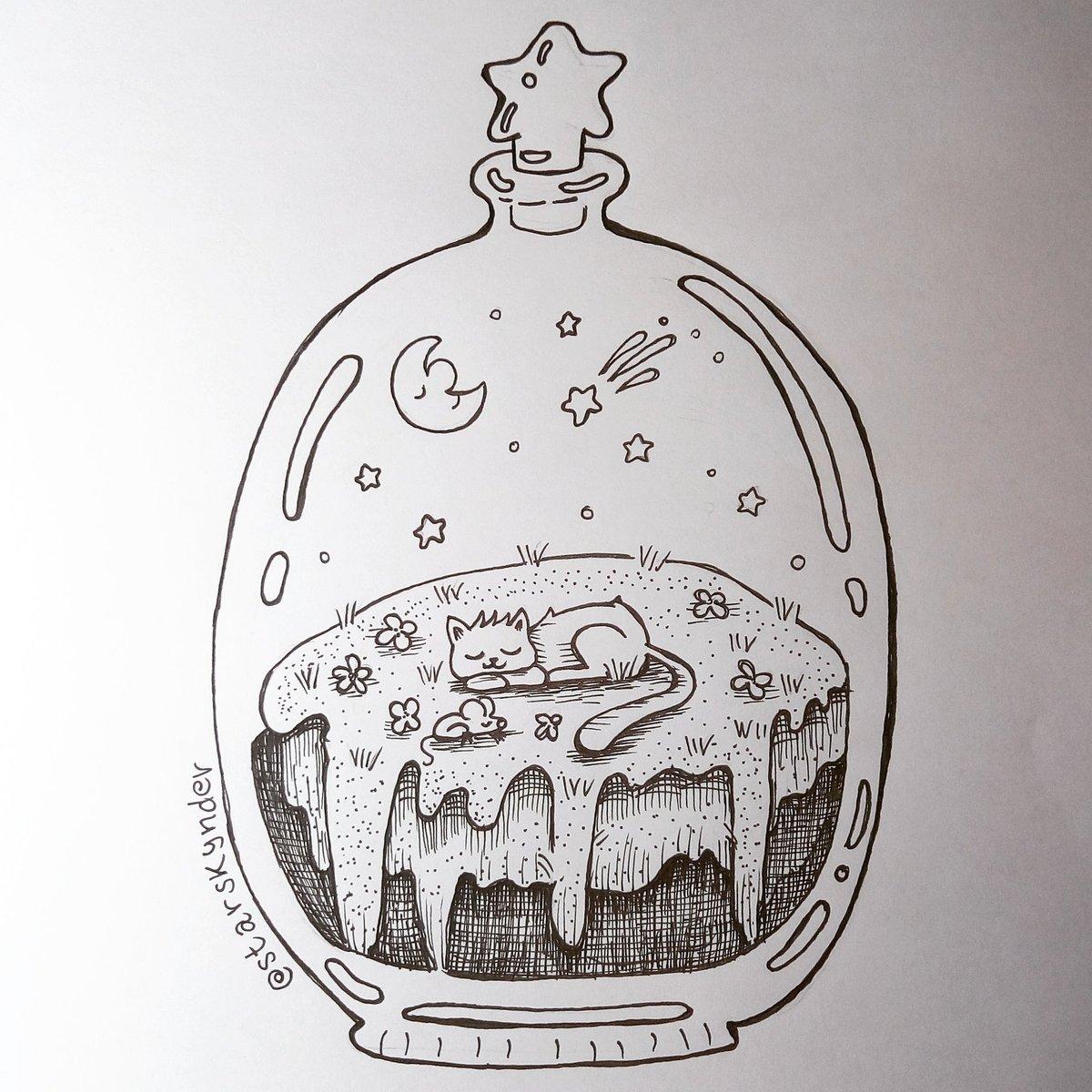 Starskynder On Twitter Purrfect Dreams Inktober Inktober2018 Drawlloween Drawing Draw Doodle Dailydoodle Illustrator Illustration Art Artwork Cat Terrarium Cute Https T Co Khnvjxv3oz