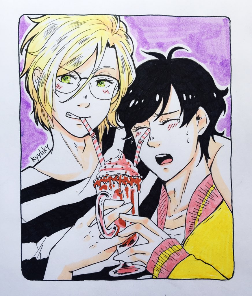 Local man bullies his short boyfriend with a milkshake selfie #BANANAFISH Counting it as #inktober2018 <br>http://pic.twitter.com/lxUVSnF4Wu