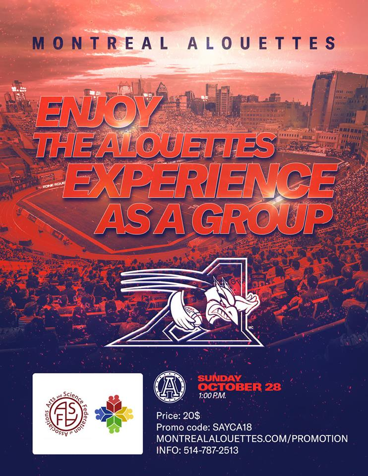 test Twitter Media - Come encourage the @MTLAlouettes on October 28th in their last game of the season! Buy your tickets at https://t.co/ARtWYRfups  using the code SAYCA18 to get a reduced rate. Profit made will be donated to Say Ça!  Go Alouettes Go! 🏈 https://t.co/uTjcKDMJI5