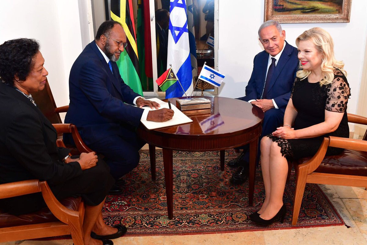 This evening we hosted the prime minister of Vanuatu, Charlot Salwai, and his wife in the Prime Minister's Residence in Jerusalem. Despite the great distance between our two countries, Israel and Vanuatu are close friends. We will strengthen our cooperation in many areas! 🇮🇱🇻🇺