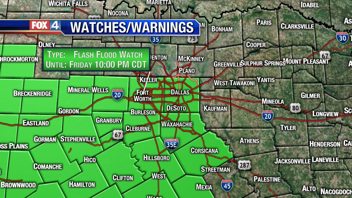 Flash Flood Watch issued for parts of North Texas, it does include Dallas and Tarrant county. #fox4weather #txwx @fox4<br>http://pic.twitter.com/vWvWr4hPGk