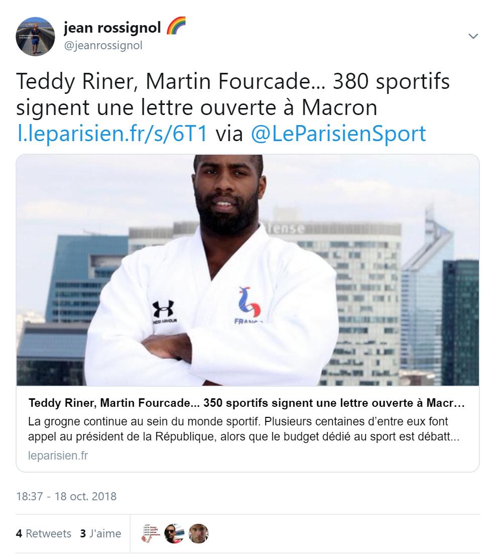 Teddy Riner, Martin Fourcade... 380 sportifs signent une lettre ouverte à Macron Plus de 1 000 vues :https://twitter.com/jeanrossignol/status/1052961873266728960article @LeParisienSport :https://t.co/HbrbTcLerx  - FestivalFocus