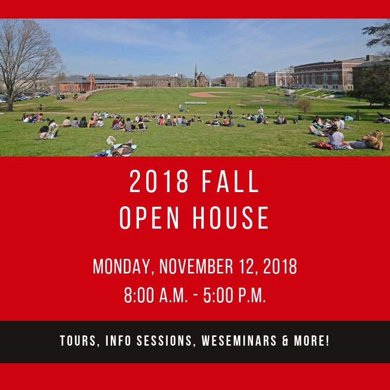 test Twitter Media - Our next Fall Open House is coming up soon! Don't forget to register online so you can join us on campus; there will be tours, info sessions, WESeminars, and much more! See you then, future Cards 🔴⚫  #WesleyanUniversity #GoWes https://t.co/y59MVVi13a https://t.co/6zRNPm61gT
