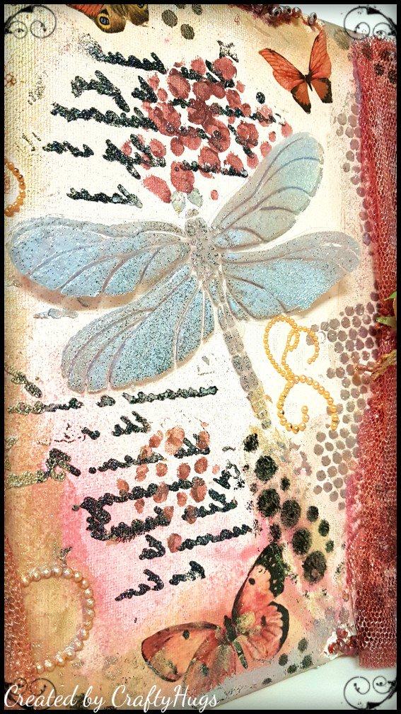Rice Art. Mixed Media Paper Powertex.Decoupage Vintage Craft Butterflies