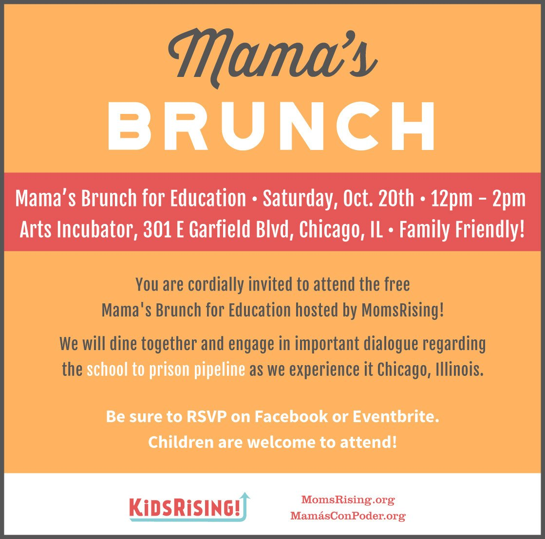 Join us in📍Chicago, IL for our Mama's Brunch for Education on Sat., Oct. 20 at 12pm - hosted by us and @Kids_Rising at the @artspubliclife!  We will eat, laugh, and discuss ways we can dismantle the #SchooltoPrisonPipeline https://t.co/L89z1VvQrF #Mamas4Ed #JuvenileJusticeMonth