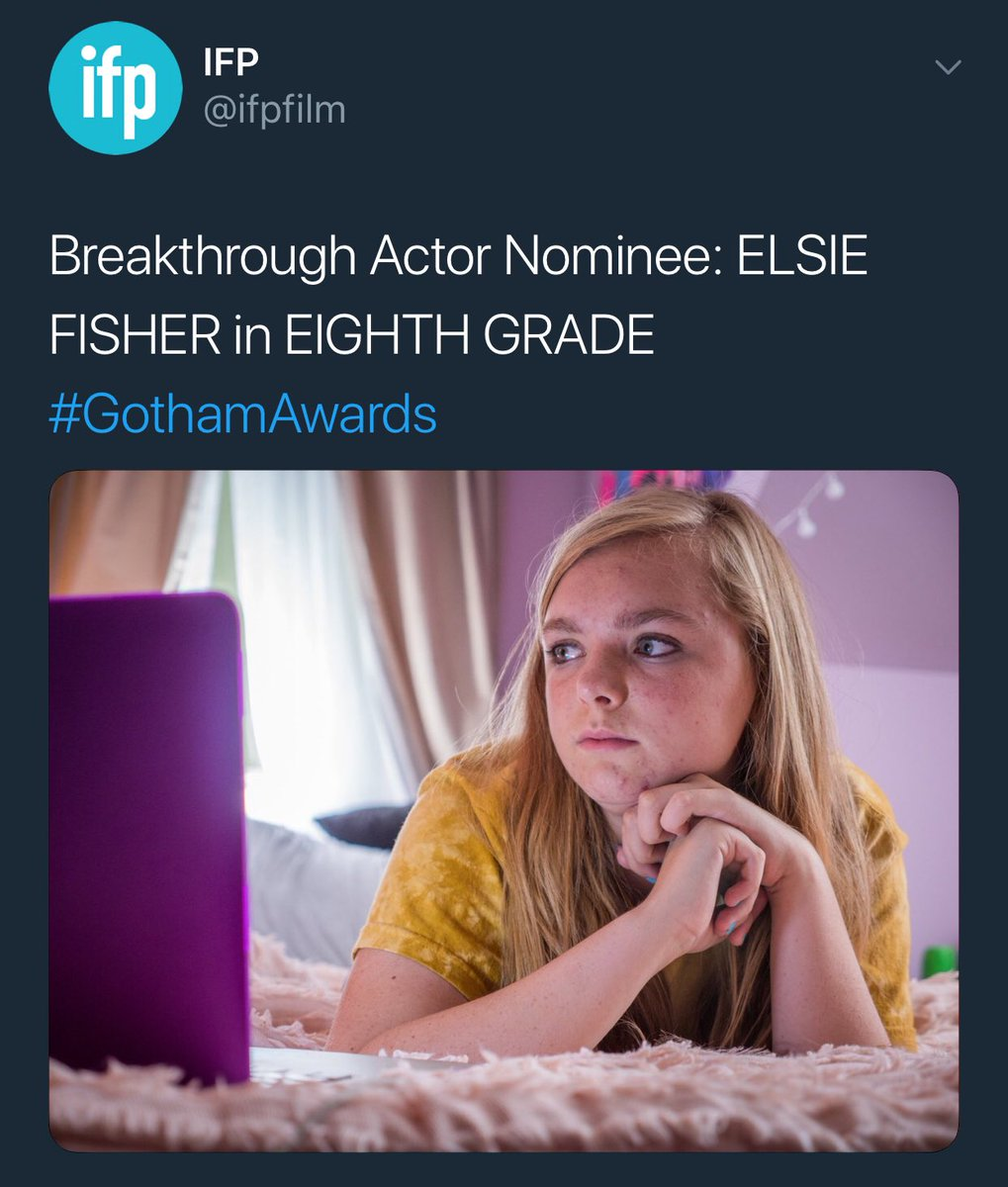 Incredibly honored to be nominated for a Gotham Award along with the legend @ElsieKFisher. We're soaring! Flying, even!