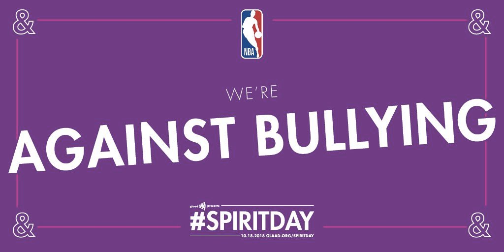 Taking a stand with the @NBA against bullying on #SpiritDay. LGBQT youth, you are loved.