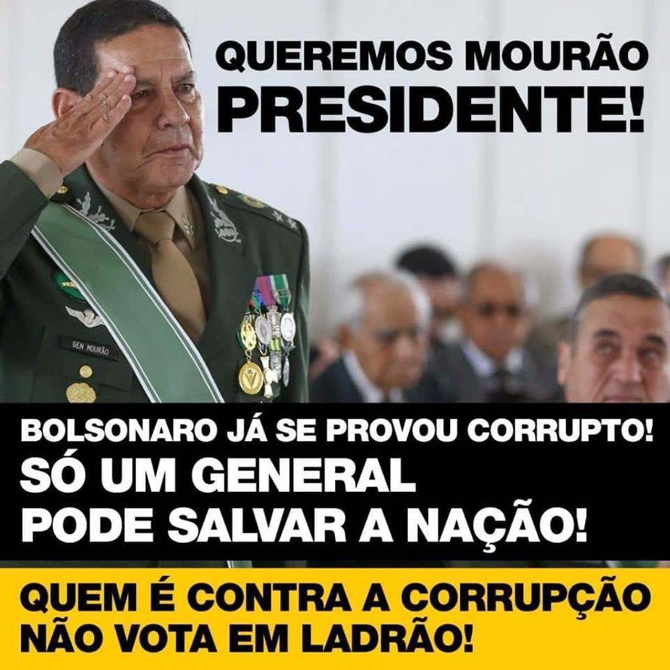 Loucura sem fim... Decepcionados com #Caixa2doBolsonaro , eleitores da extrema direita já falam em substituir capitão pelo general...
