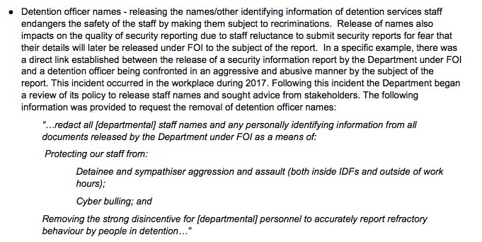 Home Affairs blames FOI for detention centre officers being harassed.