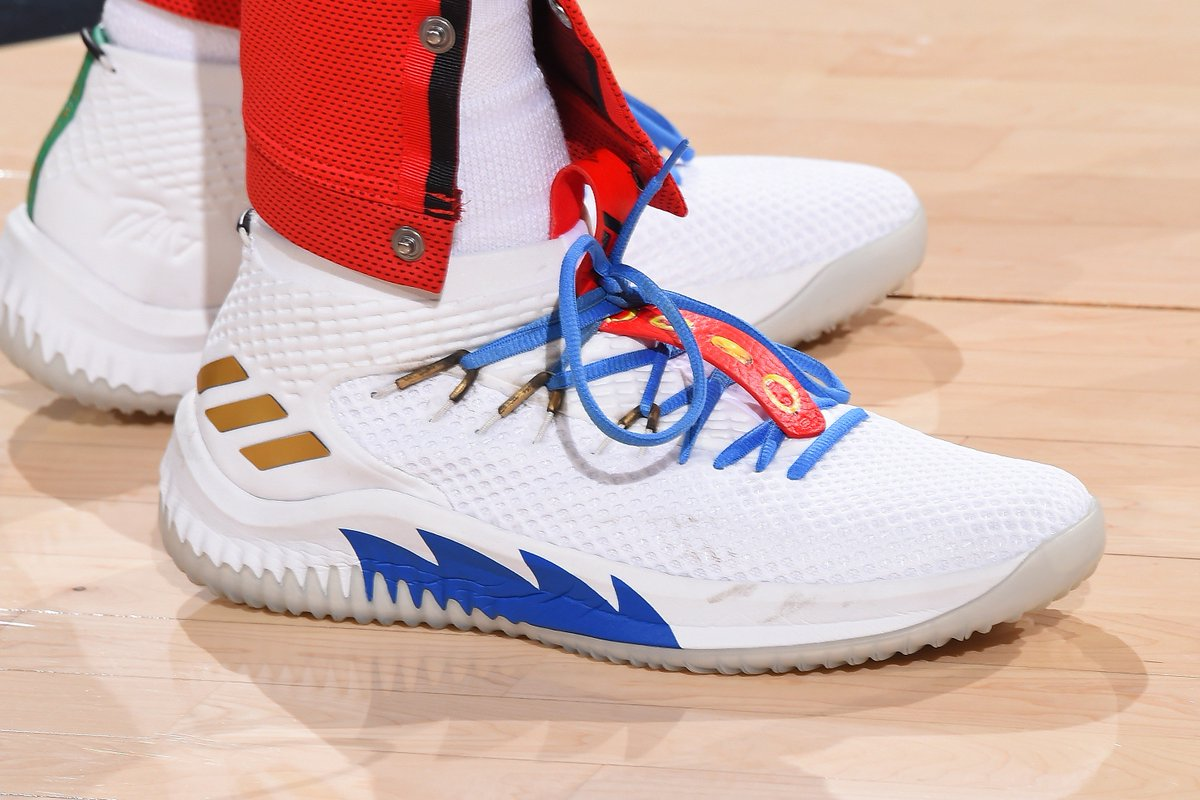 best sneakers 113fd 67fb6 DameLillard wearing an Adidas Dame 4 inspired by Sonic the Hedgehog…