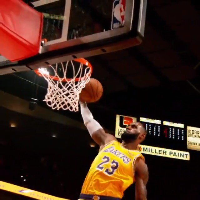 Poetry in motion... LeBron James' first basket with the @Lakers! #PhantomCam https://t.co/tnOQXXLJXH