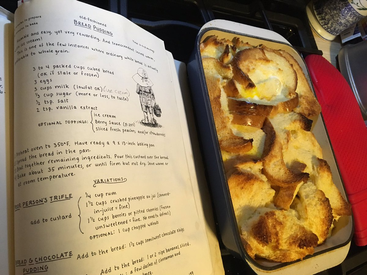 Hot bread pudding out of the oven, from a Moosewood Cookbook recipe. https://t.co/W0NaDrbY77
