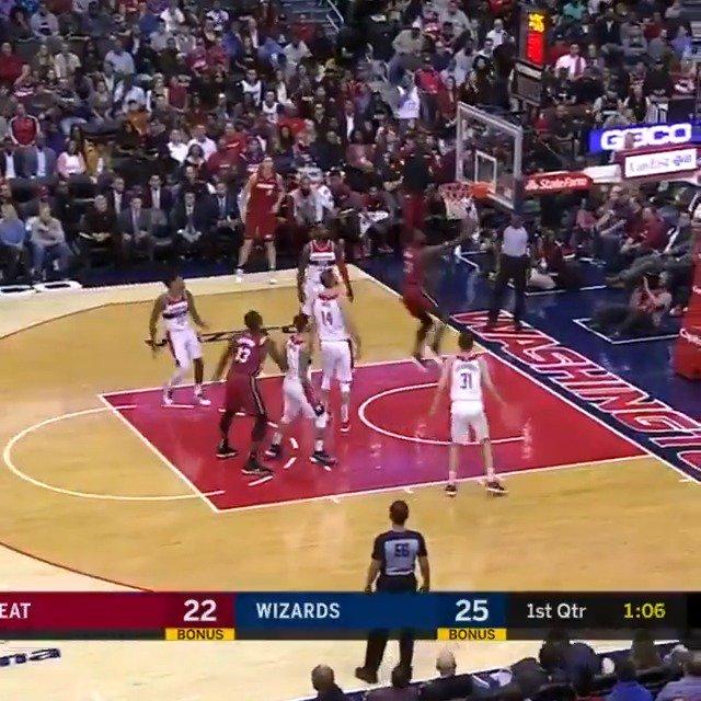 Dwyane Wade glides in for the @MiamiHEAT bucket! #HEATCulture #OneLastDance   ��: NBA League Pass https://t.co/KLkHZvpKTU