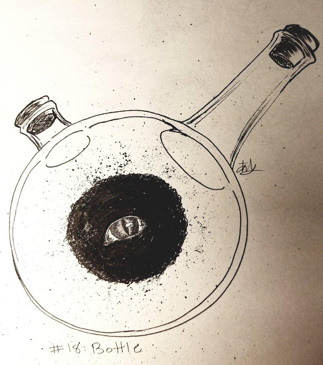 Inktober #18: Bottle  Dwarf in the Flask.  #inktober #inktober2018 #FMA #はがれん #鋼の錬金術師