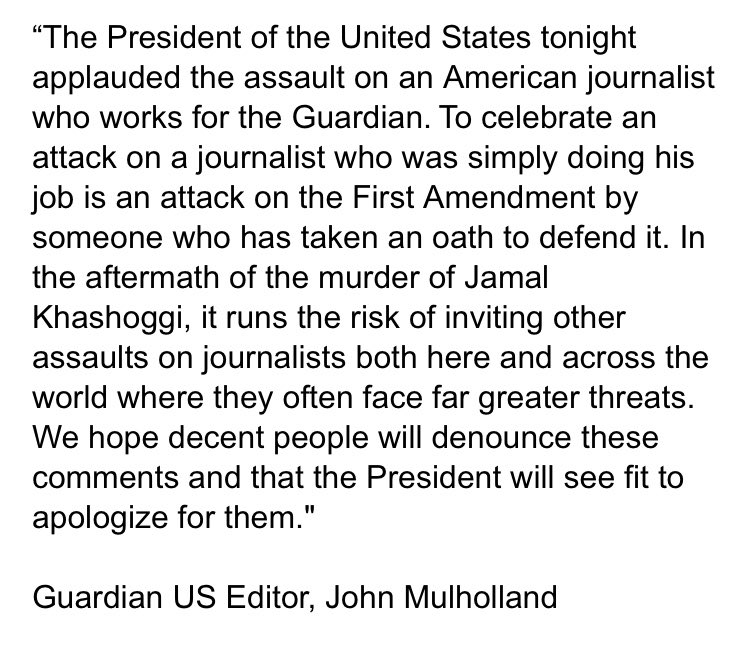 New statement from the Guardian on Trump's remarks tonight praising Gianforte's assault —>