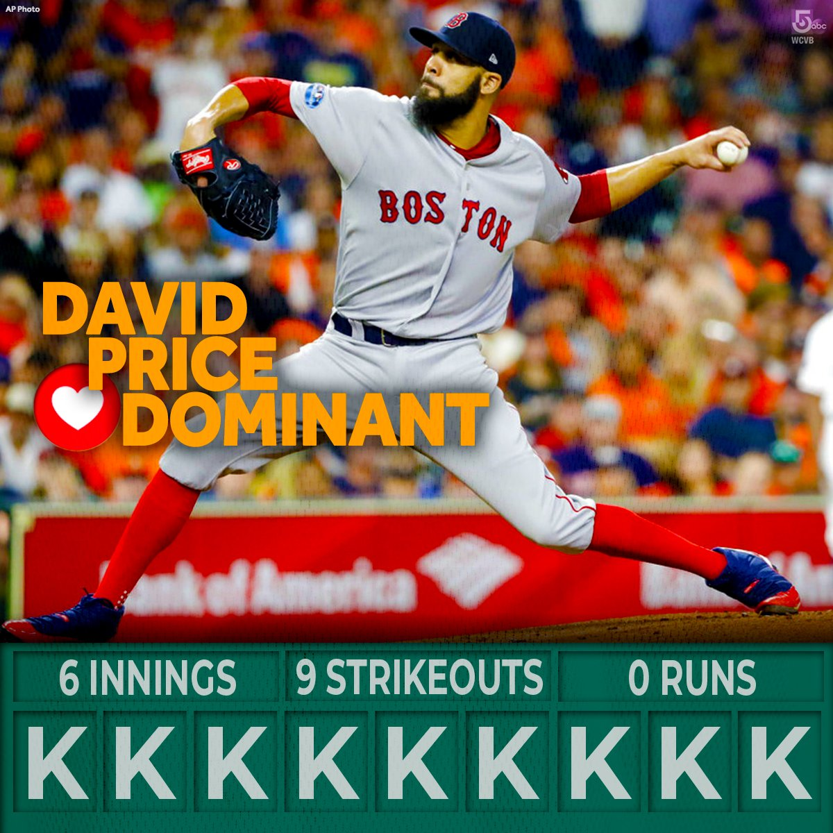 #RedSox SP David Price is done after 6 innings.  From #RedSoxNationNation to David: Thank you for a performance virtually none of us expe#ALCScted!  ❤⚾❤