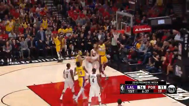 LBJ runs downhill for the AND-1!   #LakeShow #KiaTipOff18   ��: @NBAonTNT https://t.co/MM1TpzFsCL