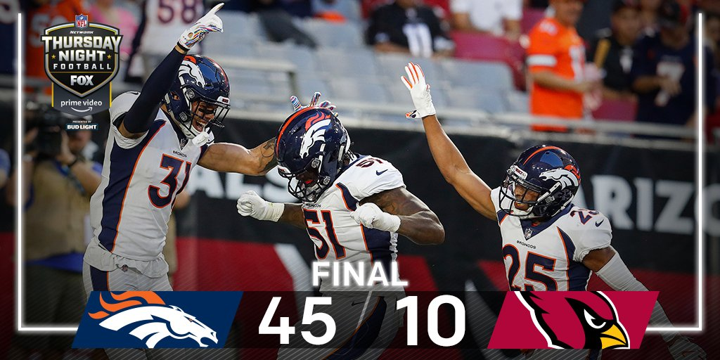 .@Broncos crush the Cardinals to snap their 4-game losing streak!   #DENvsAZ | #BroncosCountry