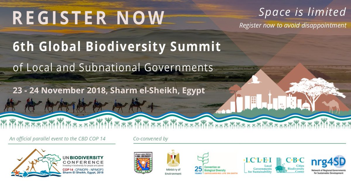 Interested in #biodiversity & #nature at the local level?  Why not come to the #6thBiodiversitySummit (parallel event to #COP14) to hear from experts & subnational/local leaders from all around the world?  Register before 31 Oct to avoid dissapointment: https://t.co/lyNTy8ORnE