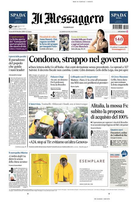 Ecco la prima pagina del Messaggero in edicola. Leggi l'edizione digitale del quotidiano qui https://t.co/DRLbG6dLXx