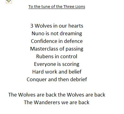 How about a new song at the Mol? - to add to the ones already sung not replace for a bit more variety.  Sung to the tune of the Three Lions (the bit near the end). Retweet if you think it works Wolves fans 😀bin off if it is awful 😢 #wwfc