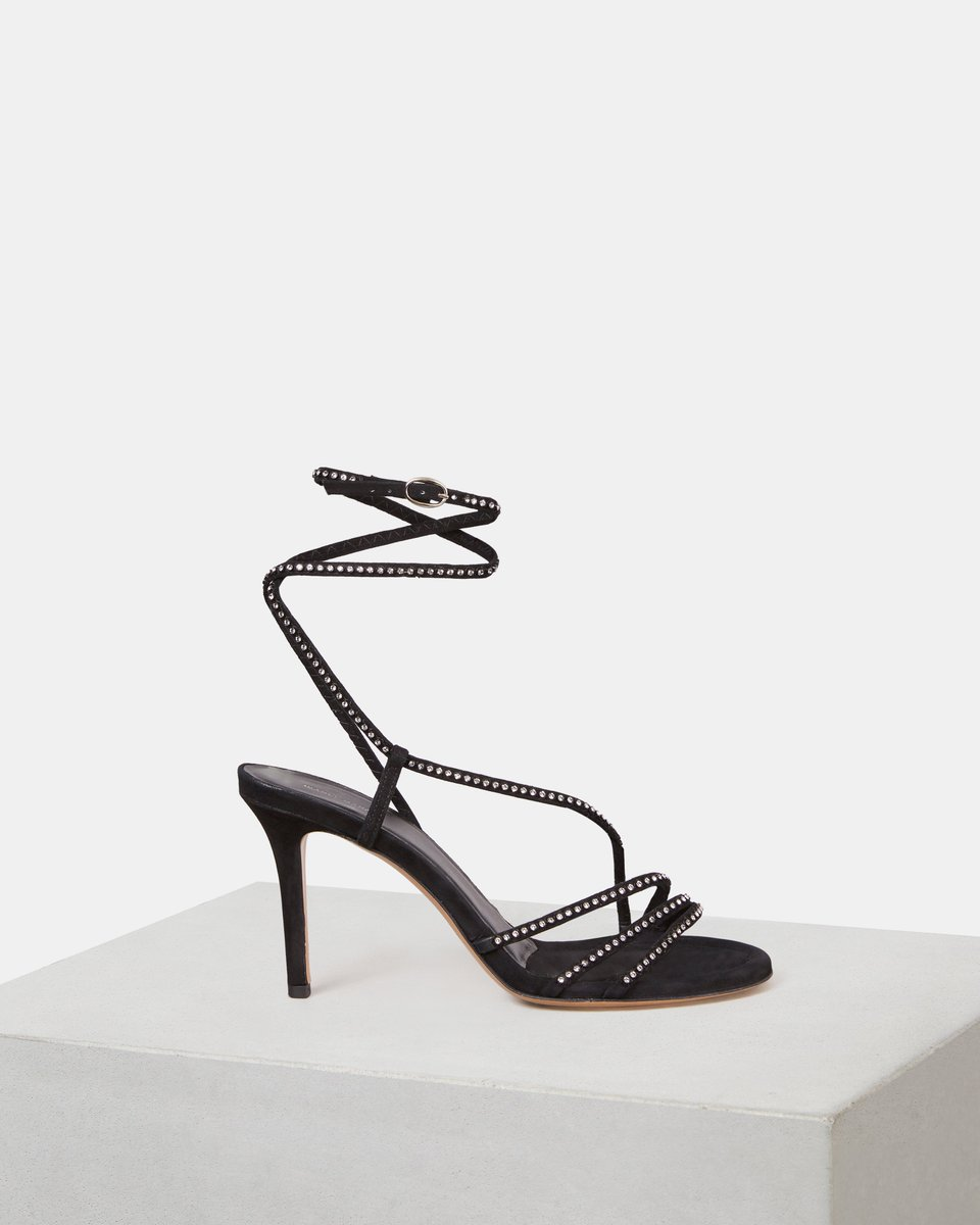 Swarovski On Twitter For Instant Red Carpet Glamour High Heels Suede Isabelmarants Black Ampsee Stiletto Sandal Studded With Crystalsfromswarovski Cant Be