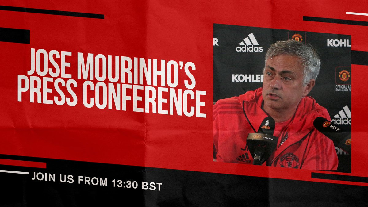 See you at 13:30 BST, when the boss will preview Saturday's #PL clash with Chelsea! #MUFC