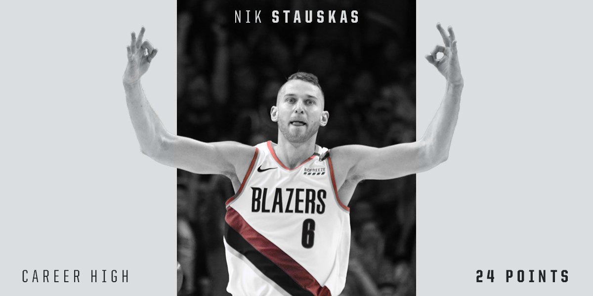 Don't get lost in the sauce. 🥫 @NStauskas11 tied his career-high last night in his Blazers debut.