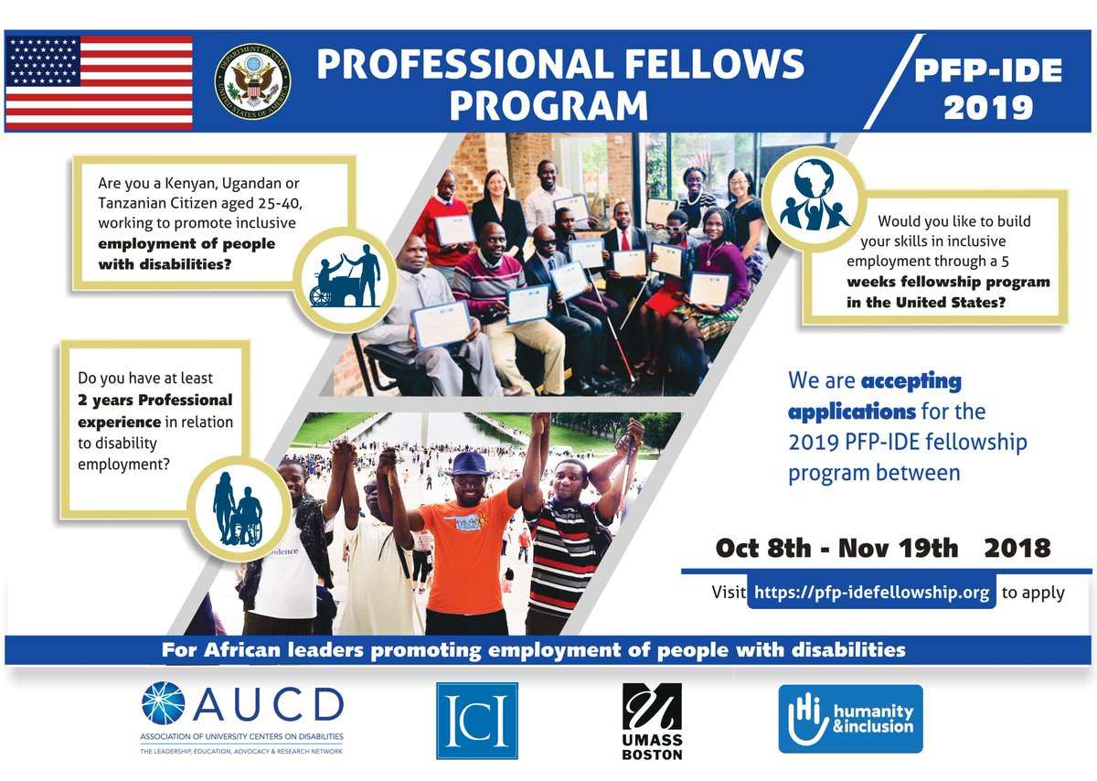 Good news! Applications to #Profellows program on #inclusive #disability employment 2019 Spring Cohort is now open 4 Tanzanians who would like to build their careers in  employment in the U.S. Apply at !    https://t.co/fzTOtW6GmP@ECAatState@AUCDNews@ICInclusion@HI_Tusk
