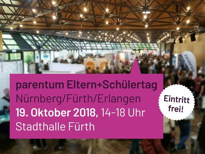 Heute ist Eltern- und Schülertag auf der #Parentum in Fürth! Von 14 - 18...