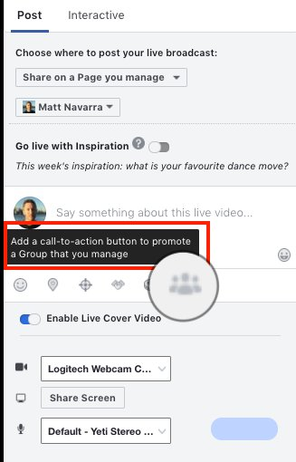 NEW? Facebook lets you add a call-to-action message to promote your Facebook Group  ...It showed up when setting up a Facebook Live broadcast. Not sure if it's only for use in FB Live, or across Facebook incl. for Ads