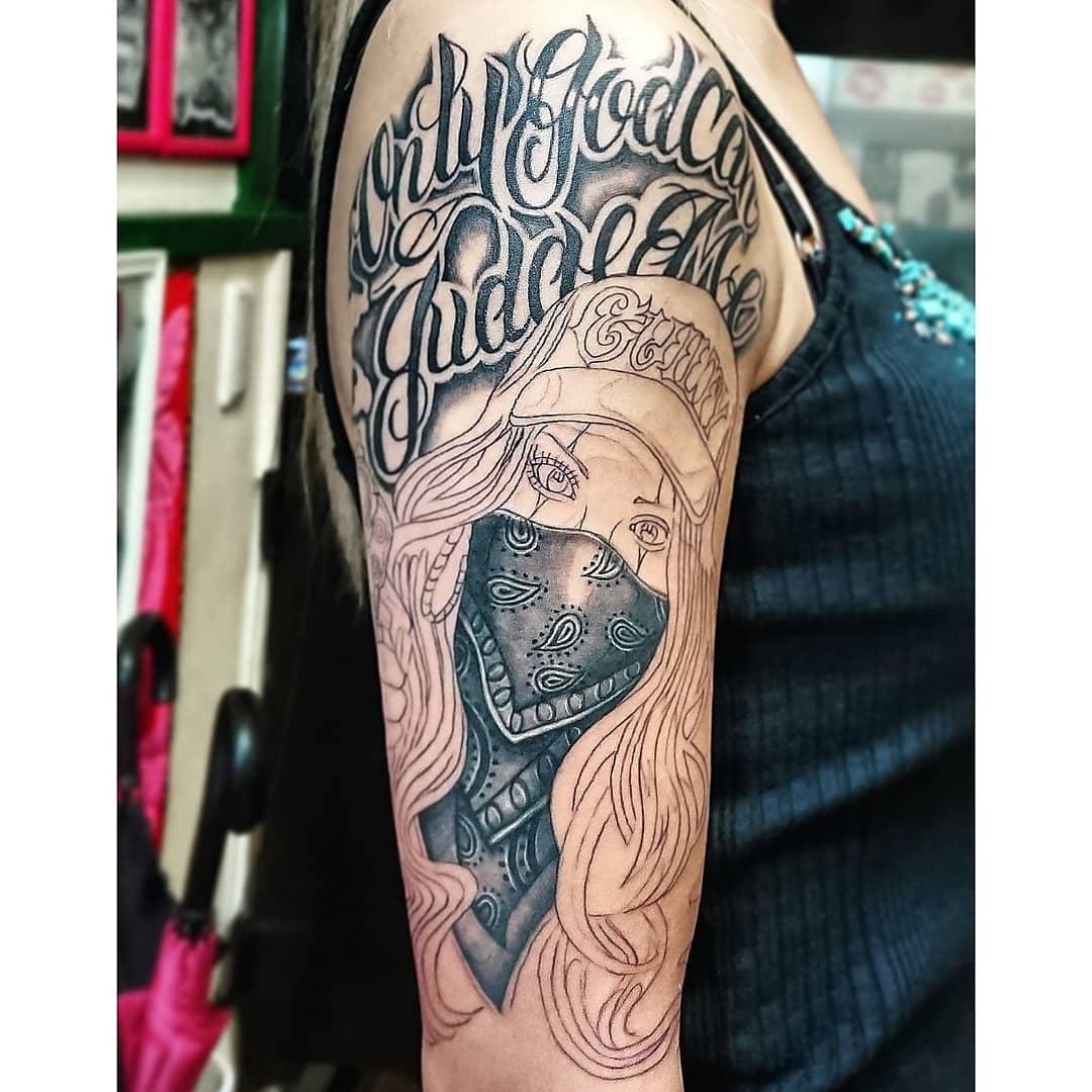 test Twitter Media - オーダーありがとうございます! ガールズフルスリーブオーダー Start! Chicana ×Lettering (1回目) Skin Evolution Tattoo KONOMI #tattoo #ink #chicano #chicana #gangsta #lettering #タトゥー #二の腕 #チカーノ #レタリング #女性彫師 #栃木県 #スキンエボリューション #KONOMI https://t.co/42yjd9ppvr