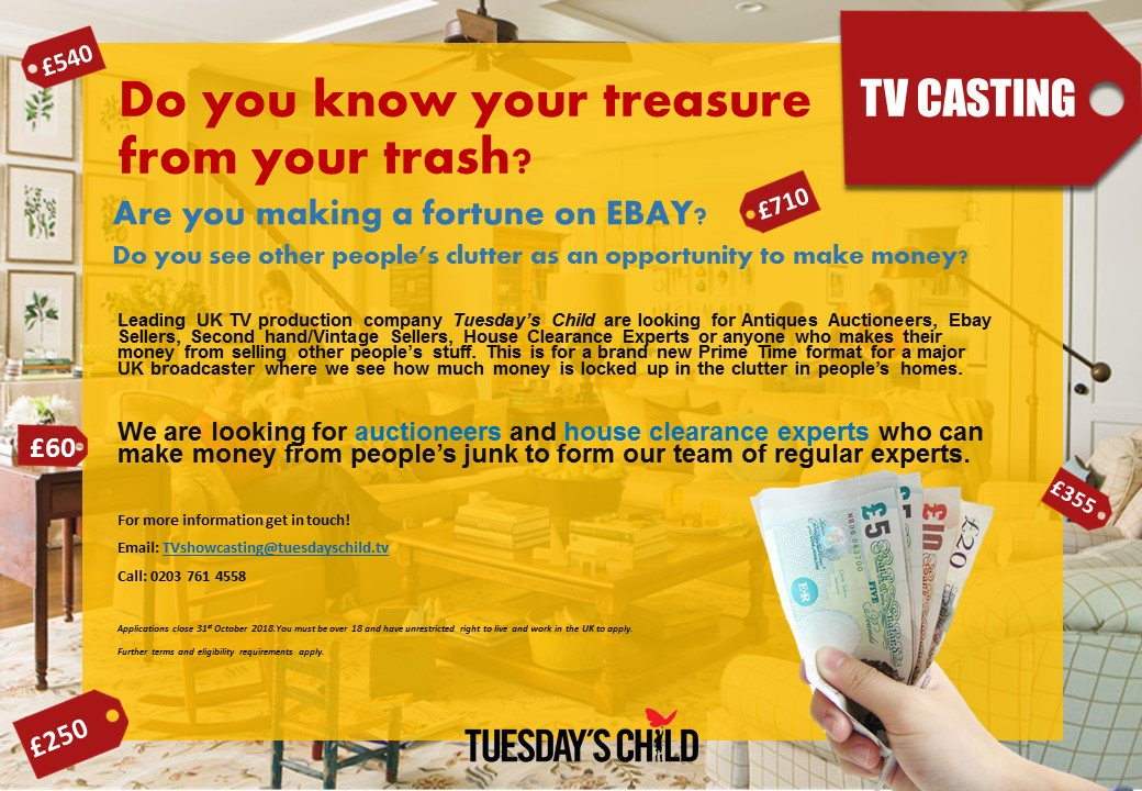 Casttv On Twitter Tvcontestants Please Rt Looking For House Clearance And Antiques Experts Who Know How To Make Cash Our Of Other People S Clutter Https T Co Pcb7as4vq8