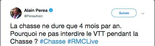 Bonjour @PereaAlain député @lrem_AN  Tout simplement parce qu'un VTT n'a jamais tué aucun chasseur.   Simple.   #RMCLive#Chasse