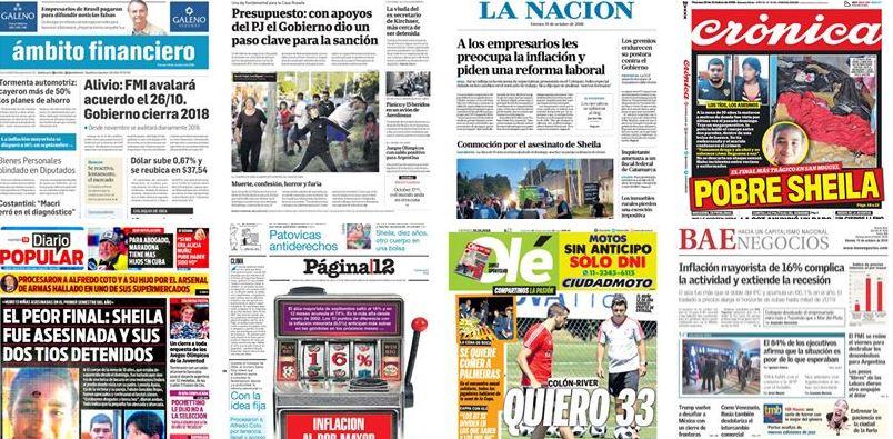 🗞️ Las portadas de los diarios de este viernes 19 de octubre de 2018 → https://t.co/PlxdNcpDfn