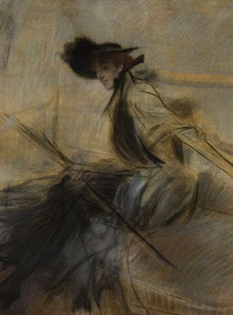 Good Morning, Tweeps   —-  American Woman (1897-1903)  by Giovani Boldini  GAM, Milan - Italy  —-  Note: original title L'Americana.   And the date is controversial   - -