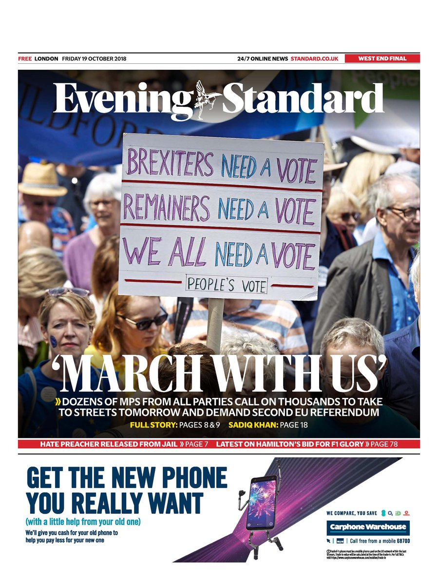 Today's @EveningStandard: MPs of all parties call on public to 'march with us' in tomorrow's #PeoplesVoteMarch