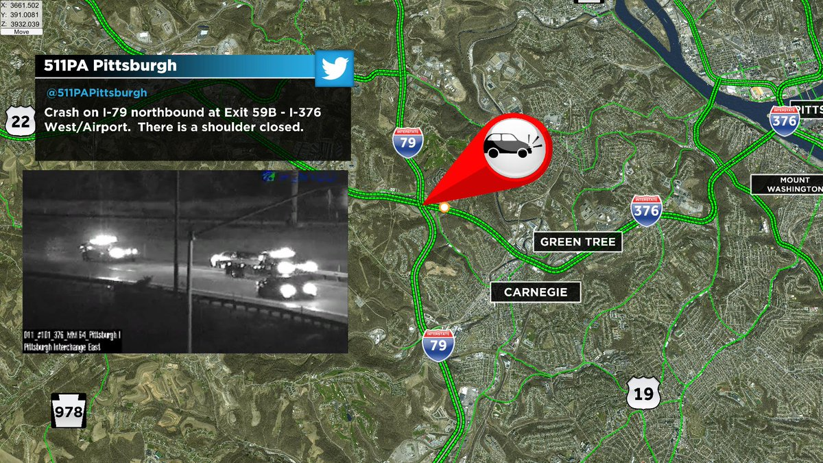 Tow truck on the scene of this crash along I-79 northbound at Exit 59B--the scene should be cleared soon. @KDKA