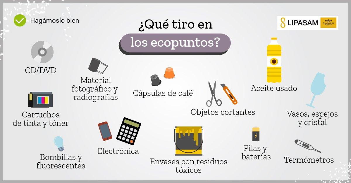 ¿Has visto ya los nuevos #ecopuntos que hay en #Sevillahoy? Estos son los residuos que puedes depositar en ellos, y aquí tienes las ubicaciones en las que podrás encontrarlos. bit.ly/ecopuntolipasam cc @Ayto_Sevilla