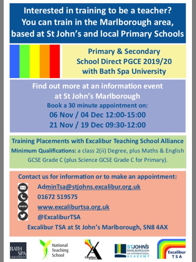 If you'd like to find out more about training to be a teacher, book a place at one of our information events at St John's Marlborough. Email us: AdminTSA@stjohns.excalibur.org.uk to book or for more information or visit our website https://t.co/kS3HKhRCEq
